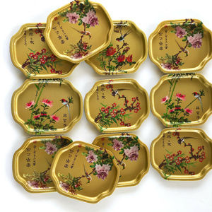 VINTAGE Gold-tone Asian Serving Trays